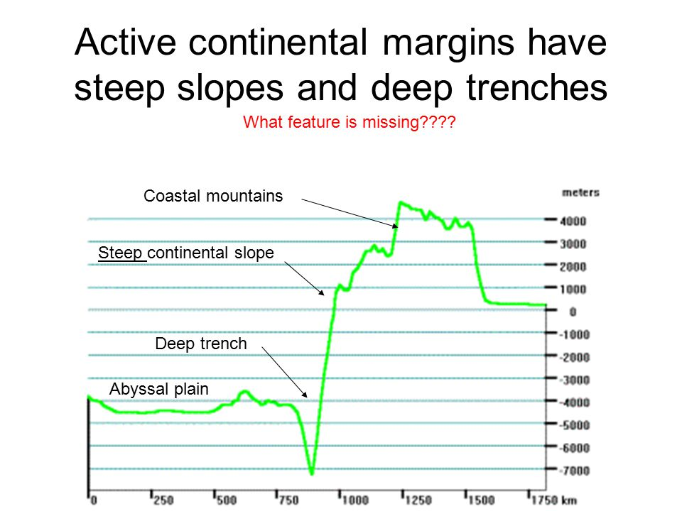 Active continental margins have steep slopes and deep trenches Steep continental slope Deep trench Coastal mountains What feature is missing???? Abyss