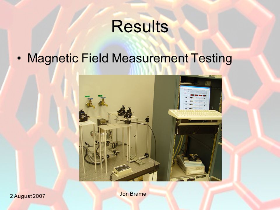 2 August 2007 Jon Brame Results Magnetic Field Measurement Testing