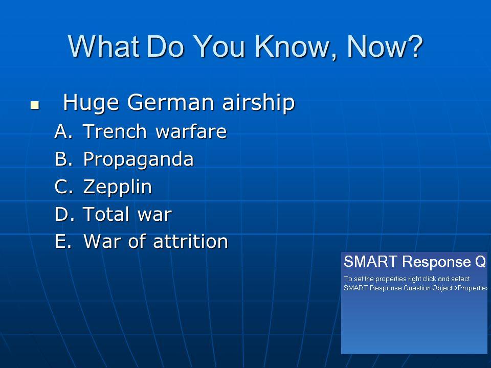 What Do You Know, Now? Huge German airship Huge German airship A.Trench warfare B.Propaganda C.Zepplin D.Total war E.War of attrition