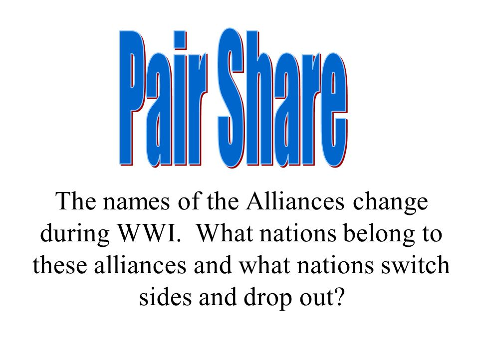 The names of the Alliances change during WWI.