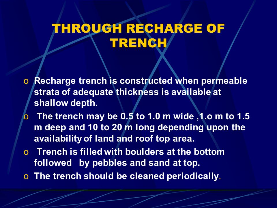 THROUGH WELLS Recharge water is guided to the bottom of well or below the water level to avoid scouring of bottom.