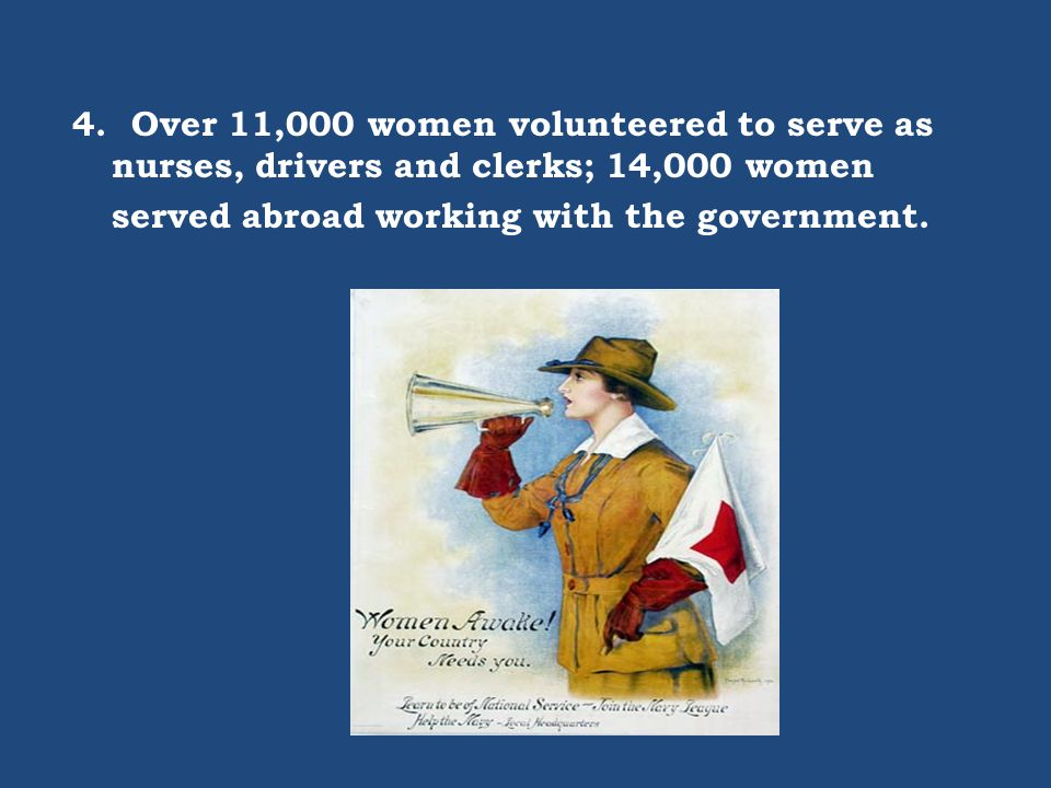 4. Over 11,000 women volunteered to serve as nurses, drivers and clerks; 14,000 women served abroad working with the government.