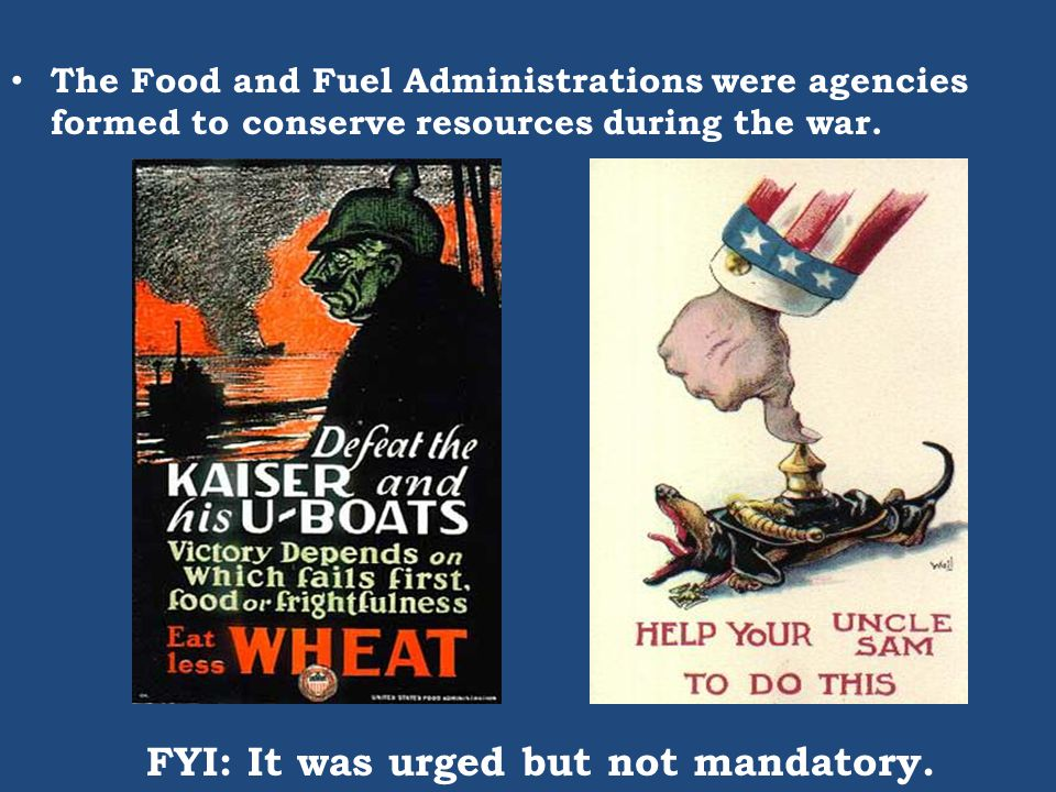 The Food and Fuel Administrations were agencies formed to conserve resources during the war. FYI: It was urged but not mandatory.