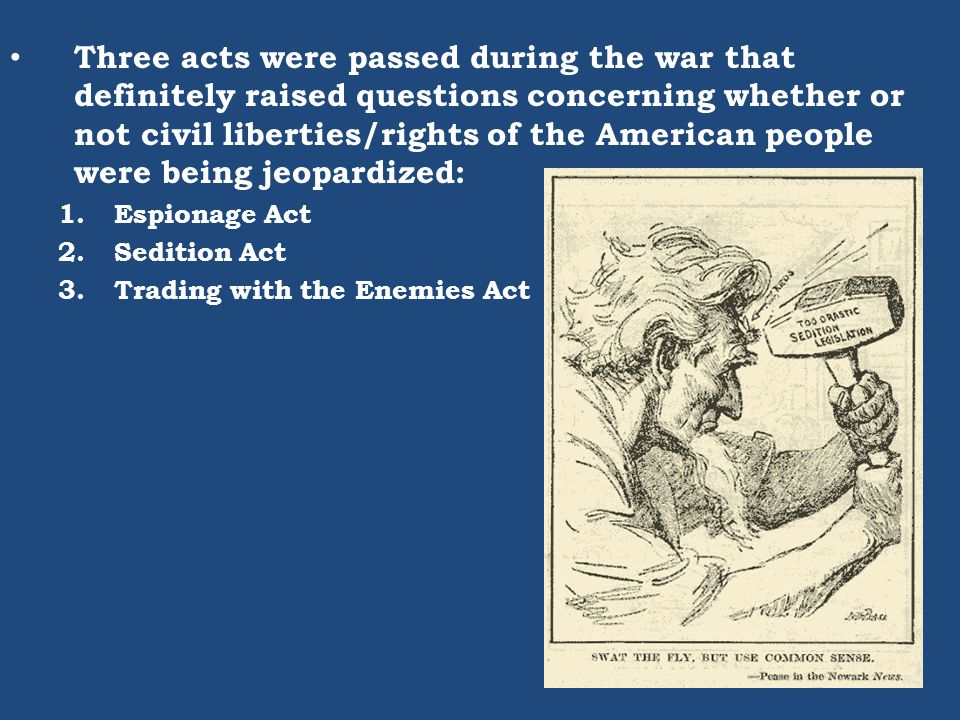 Three acts were passed during the war that definitely raised questions concerning whether or not civil liberties/rights of the American people were be