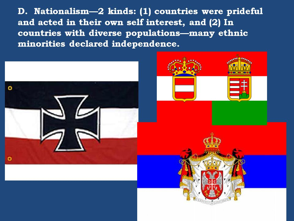 D. Nationalism—2 kinds: (1) countries were prideful and acted in their own self interest, and (2) In countries with diverse populations—many ethnic mi