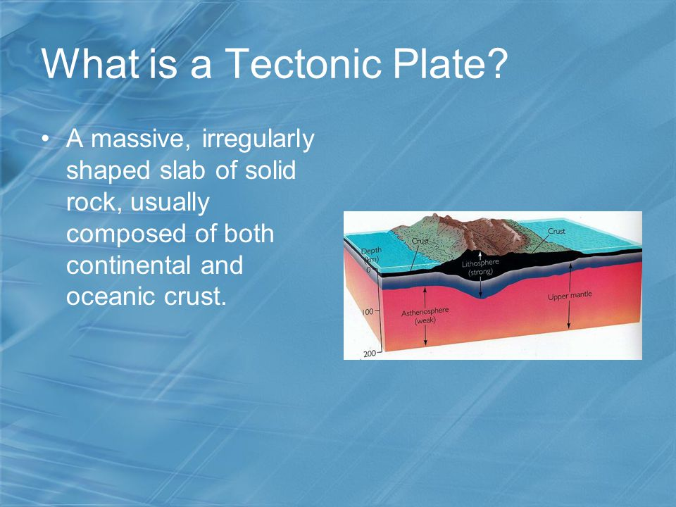What is a Tectonic Plate? A massive, irregularly shaped slab of solid rock, usually composed of both continental and oceanic crust.