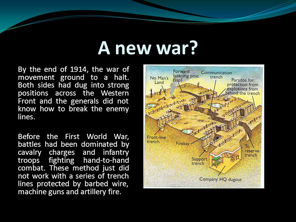A new war. By the end of 1914, the war of movement ground to a halt.