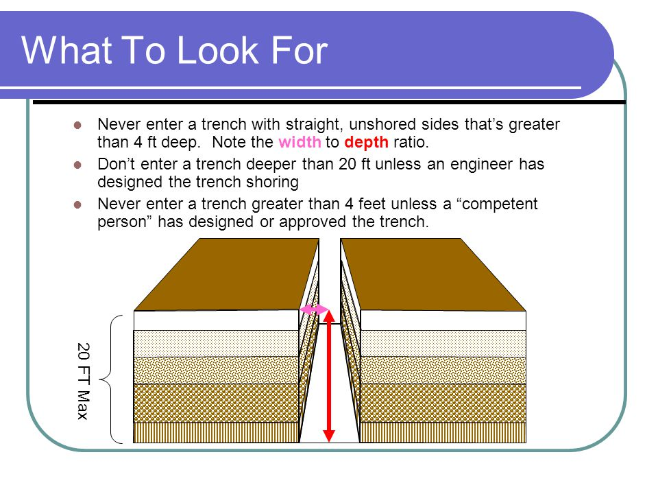 Sloped Sides Only go into a trench >4 deep if… Sides are sloped so Width is 1.5 times the depth.