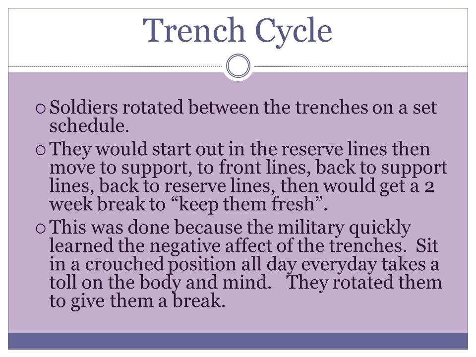 Trench Cycle  Soldiers rotated between the trenches on a set schedule.  They would start out in the reserve lines then move to support, to front lin