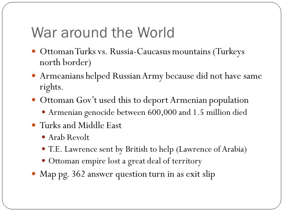 War around the World Ottoman Turks vs.