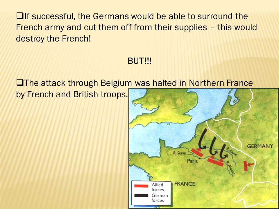  If successful, the Germans would be able to surround the French army and cut them off from their supplies – this would destroy the French.