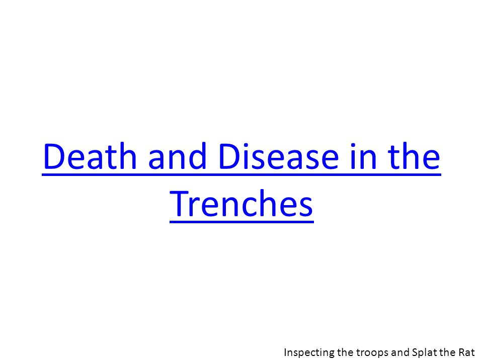 Death and Disease in the Trenches Inspecting the troops and Splat the Rat
