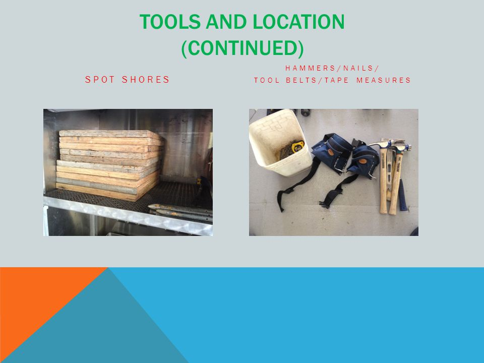 TOOLS AND LOCATION (CONTINUED) SPOT SHORES HAMMERS/NAILS/ TOOL BELTS/TAPE MEASURES