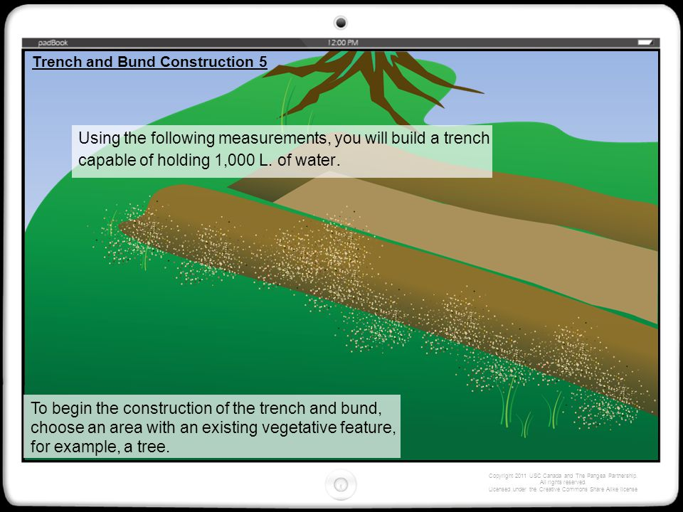 Using the following measurements, you will build a trench capable of holding 1,000 L.