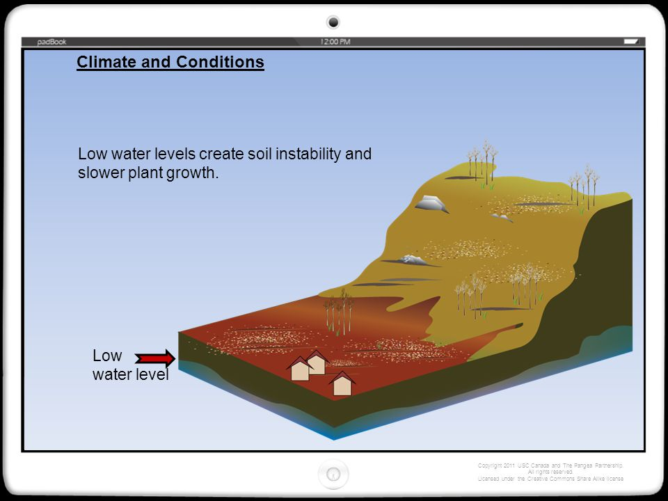 Low water levels create soil instability and slower plant growth. Low water level Climate and Conditions Copyright 2011 USC Canada and The Pangea Part