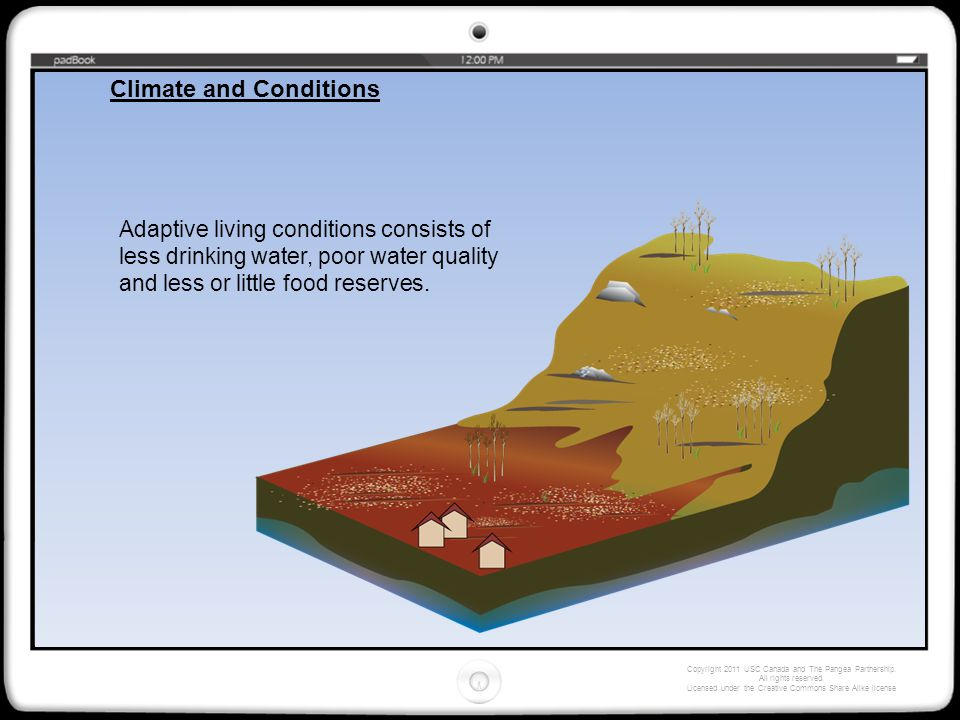 Adaptive living conditions consists of less drinking water, poor water quality and less or little food reserves.