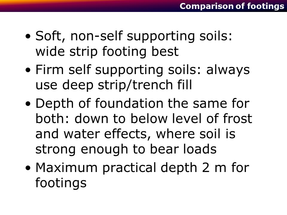 Comparison of footings Soft, non-self supporting soils: wide strip footing best Firm self supporting soils: always use deep strip/trench fill Depth of