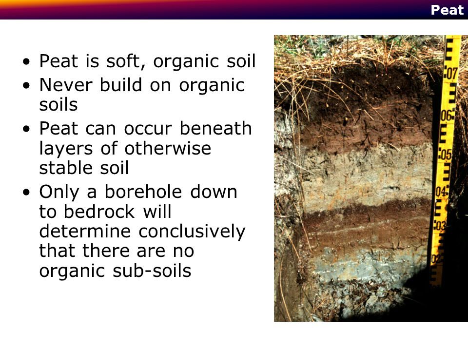 Peat Peat is soft, organic soil Never build on organic soils Peat can occur beneath layers of otherwise stable soil Only a borehole down to bedrock wi