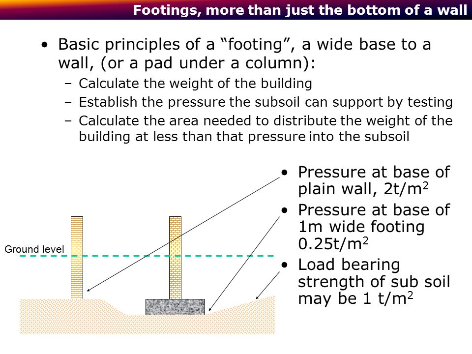 "Footings, more than just the bottom of a wall Basic principles of a ""footing"", a wide base to a wall, (or a pad under a column): –Calculate the weight"