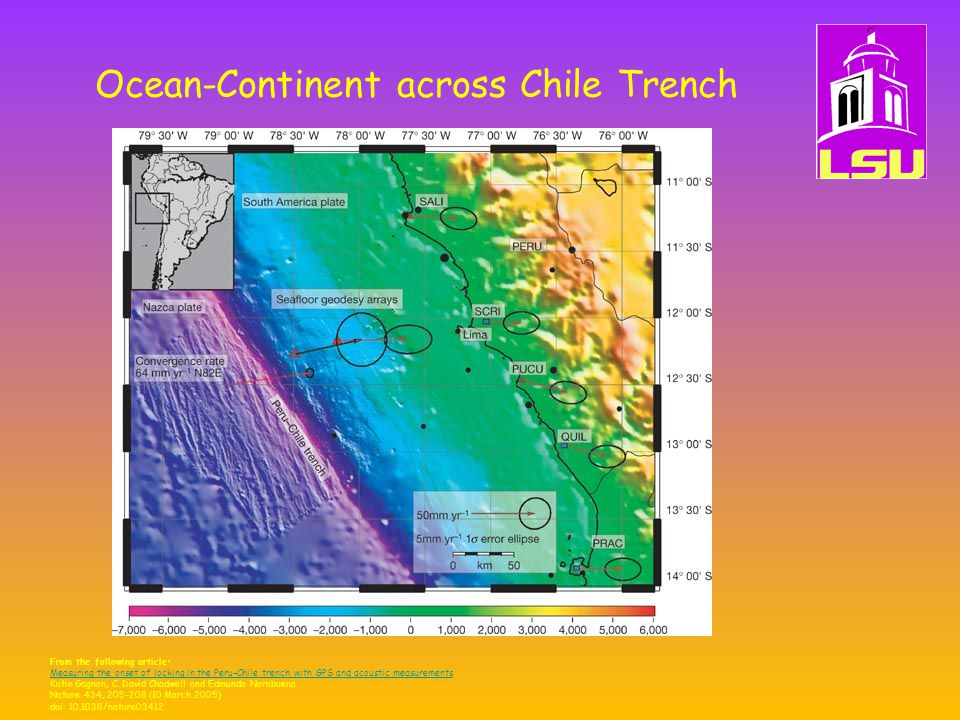 Ocean-Continent across Chile Trench From the following article: Measuring the onset of locking in the Peru−Chile trench with GPS and acoustic measurements Katie Gagnon, C.