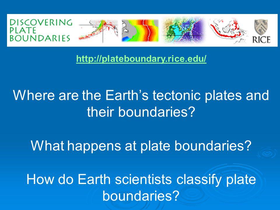 http://plateboundary.rice.edu/ Where are the Earth's tectonic plates and their boundaries.