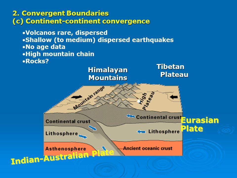 2. Convergent Boundaries (c) Continent-continent convergence TibetanPlateau Indian-Australian Plate EurasianPlate HimalayanMountains Volcanos rare, di
