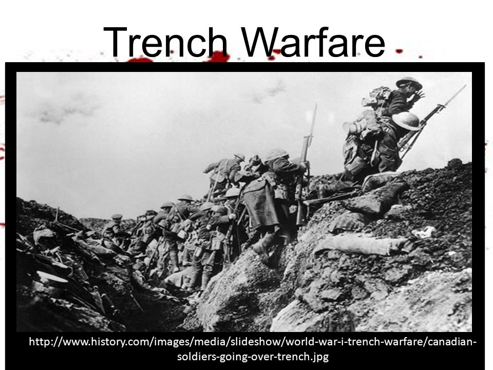 Trench Warfare http://www.history.com/images/media/slideshow/world-war-i-trench-warfare/canadian- soldiers-going-over-trench.jpg