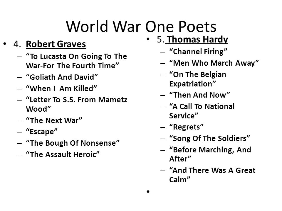 World War One Poets 4.