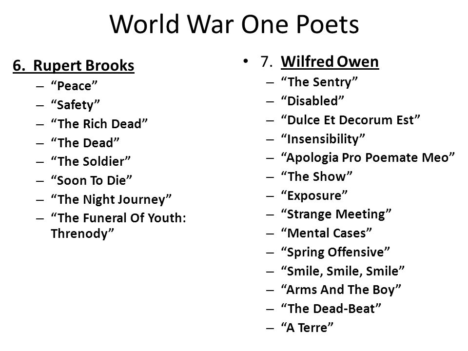 World War One Poets 6.