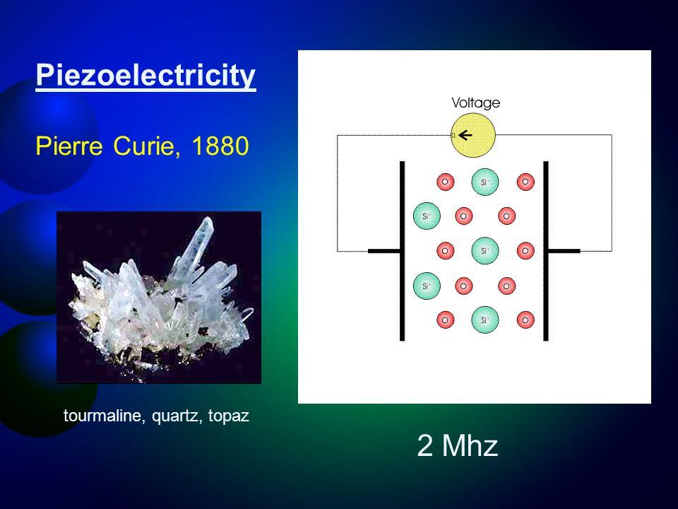 Piezoelectricity Pierre Curie, 1880 tourmaline, quartz, topaz 2 Mhz