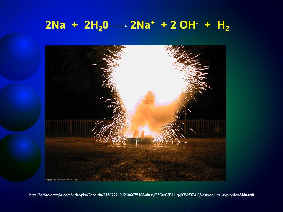 2Na + 2H 2 02Na + + 2 OH - + H 2 http://video.google.com/videoplay docid=-2158222101210607510&ei=syO5SuaVBJLiqgKWif37AQ&q=sodium+explosion&hl=en#