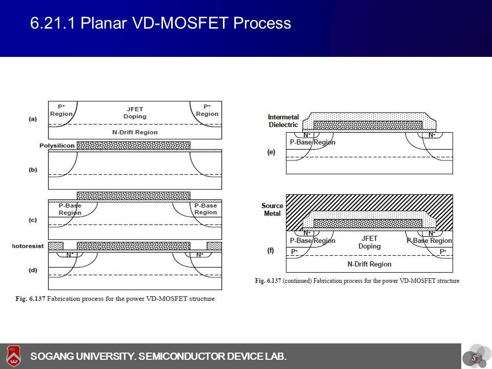 SOGANG UNIVERSITY SOGANG UNIVERSITY. SEMICONDUCTOR DEVICE LAB. 6.21.1 Planar VD-MOSFET Process