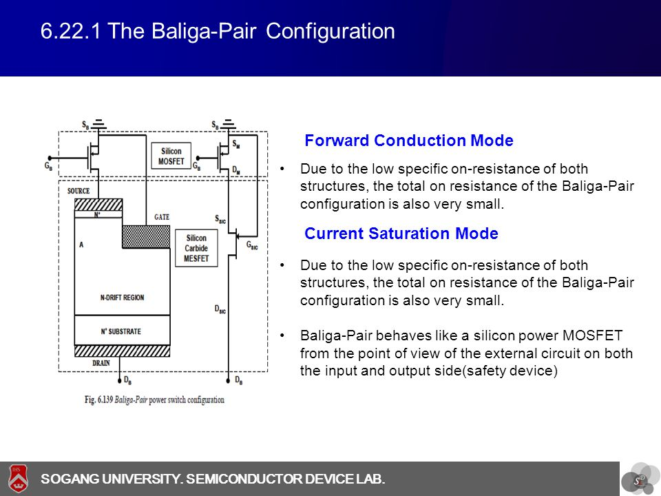 SOGANG UNIVERSITY SOGANG UNIVERSITY. SEMICONDUCTOR DEVICE LAB. 6.22.1 The Baliga-Pair Configuration Due to the low specific on-resistance of both stru