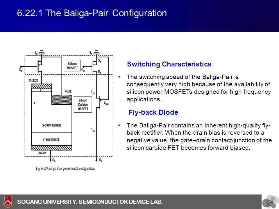 SOGANG UNIVERSITY SOGANG UNIVERSITY. SEMICONDUCTOR DEVICE LAB. 6.22.1 The Baliga-Pair Configuration The switching speed of the Baliga-Pair is conseque