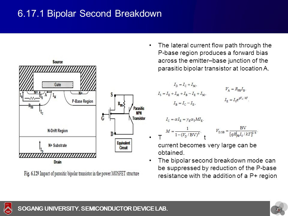 SOGANG UNIVERSITY SOGANG UNIVERSITY. SEMICONDUCTOR DEVICE LAB. 6.17.1 Bipolar Second Breakdown The lateral current flow path through the P-base region