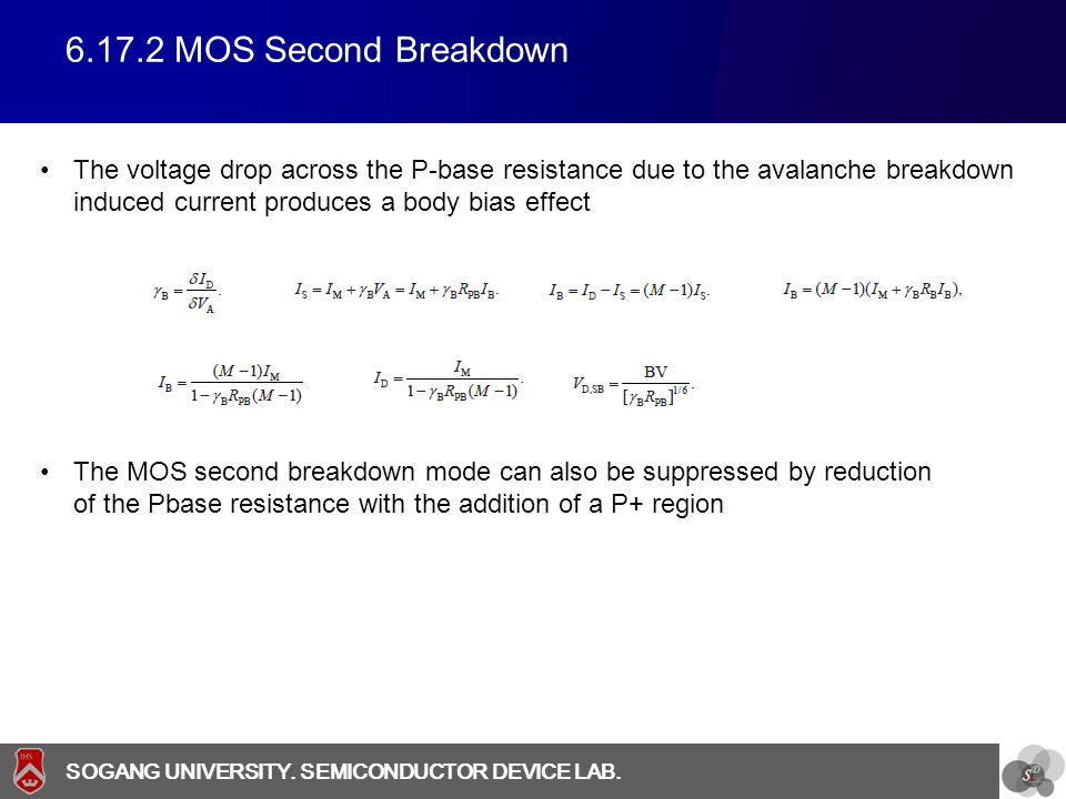 SOGANG UNIVERSITY SOGANG UNIVERSITY. SEMICONDUCTOR DEVICE LAB. 6.17.2 MOS Second Breakdown The voltage drop across the P-base resistance due to the av