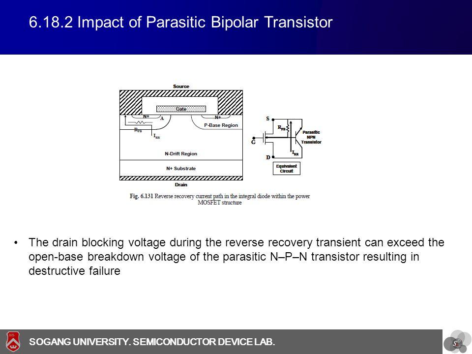 SOGANG UNIVERSITY SOGANG UNIVERSITY. SEMICONDUCTOR DEVICE LAB. 6.18.2 Impact of Parasitic Bipolar Transistor The drain blocking voltage during the rev