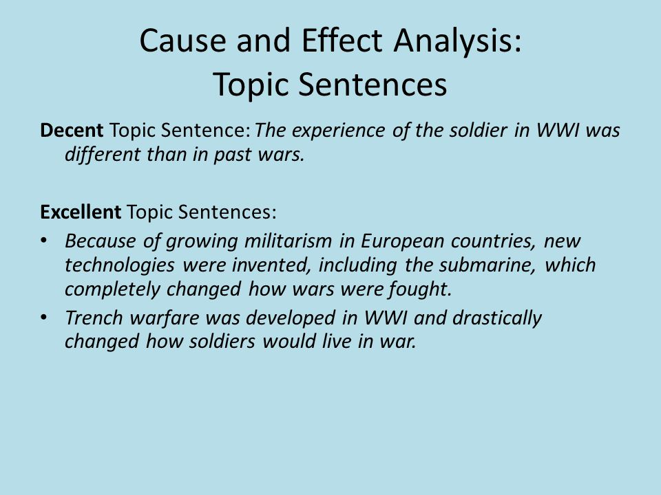 Cause and Effect Analysis: Topic Sentences Decent Topic Sentence: The experience of the soldier in WWI was different than in past wars.