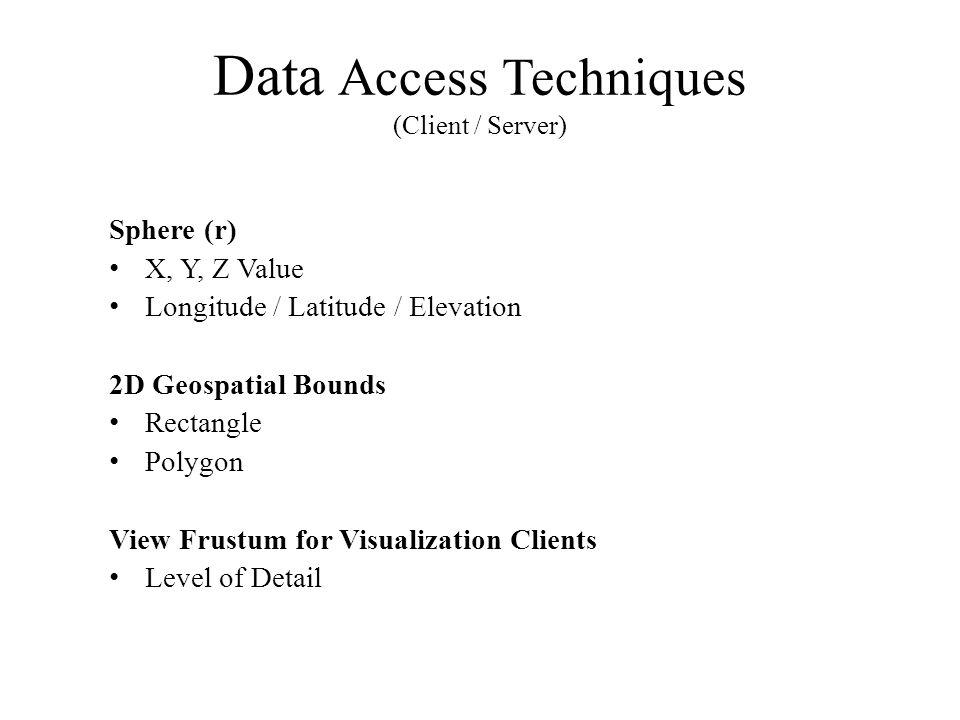 Data Access Techniques (Client / Server) Sphere (r) X, Y, Z Value Longitude / Latitude / Elevation 2D Geospatial Bounds Rectangle Polygon View Frustum for Visualization Clients Level of Detail