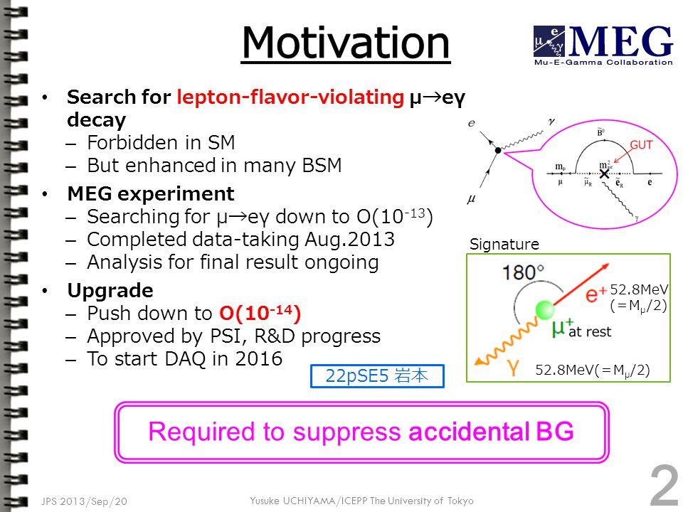 JPS 2013/Sep/20 Yusuke UCHIYAMA/ICEPP The University of Tokyo MEG Upgrade Proposal (http://arxiv.org/abs/arXiv:1301.7225)http://arxiv.org/abs/arXiv:1301.7225 全体像 3