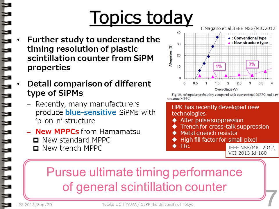 Further study to understand the timing resolution of plastic scintillation counter from SiPM properties Detail comparison of different type of SiPMs – Recently, many manufacturers produce blue-sensitive SiPMs with 'p-on-n' structure – New MPPCs from Hamamatsu  New standard MPPC  New trench MPPC JPS 2013/Sep/20 Yusuke UCHIYAMA/ICEPP The University of Tokyo Pursue ultimate timing performance of general scintillation counter HPK has recently developed new technologies  After pulse suppression  Trench for cross-talk suppression  Metal quench resistor  High fill factor for small pixel  Etc.