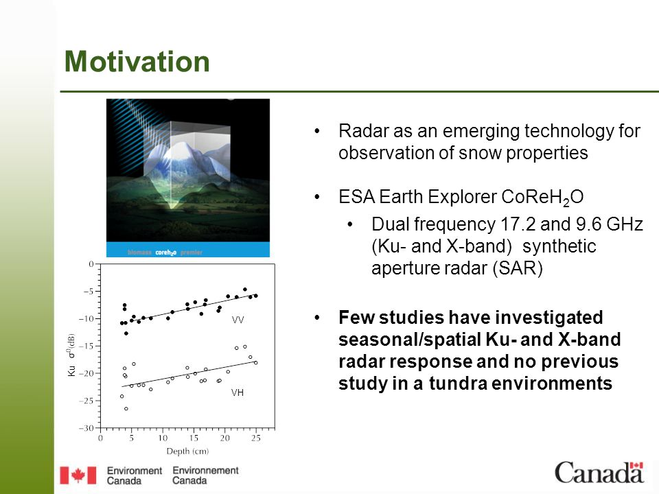 Motivation Radar as an emerging technology for observation of snow properties ESA Earth Explorer CoReH 2 O Dual frequency 17.2 and 9.6 GHz (Ku- and X-