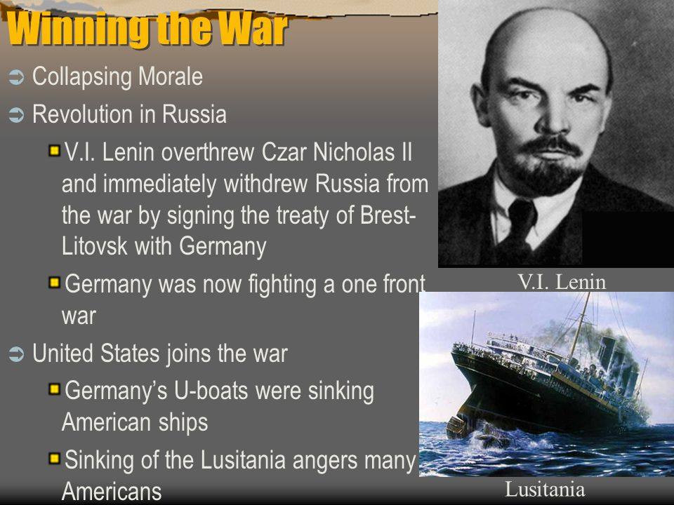 Winning the War  Collapsing Morale  Revolution in Russia V.I.
