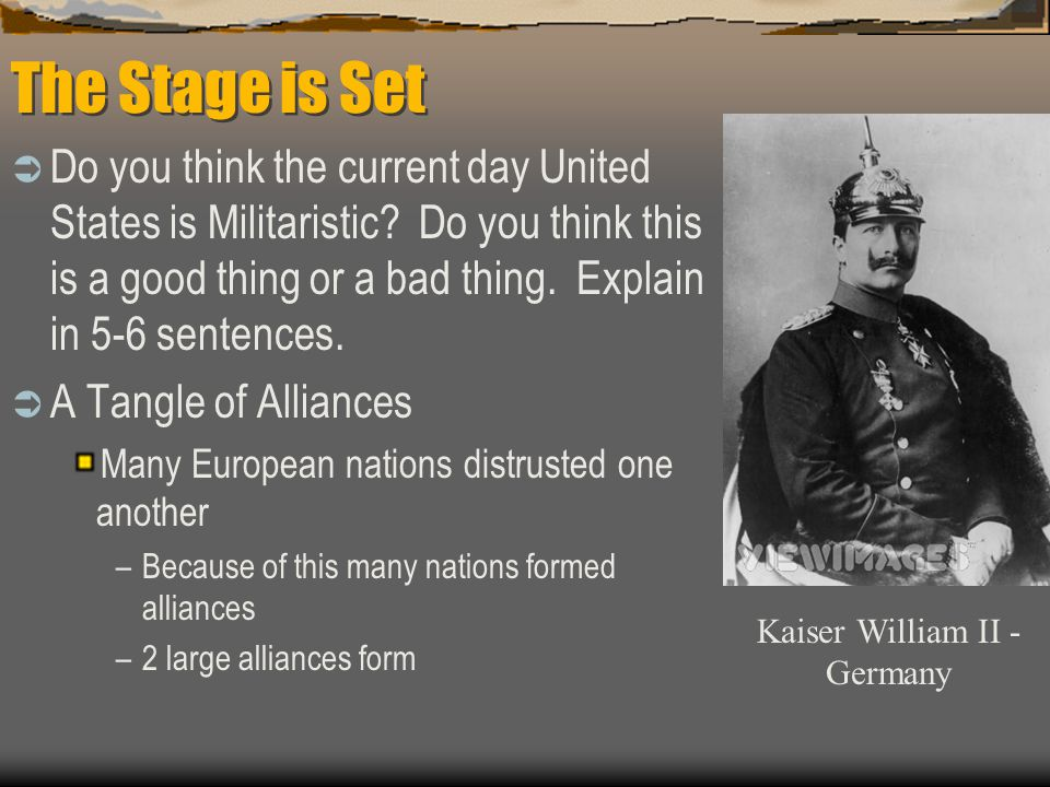 The Stage is Set  Do you think the current day United States is Militaristic.