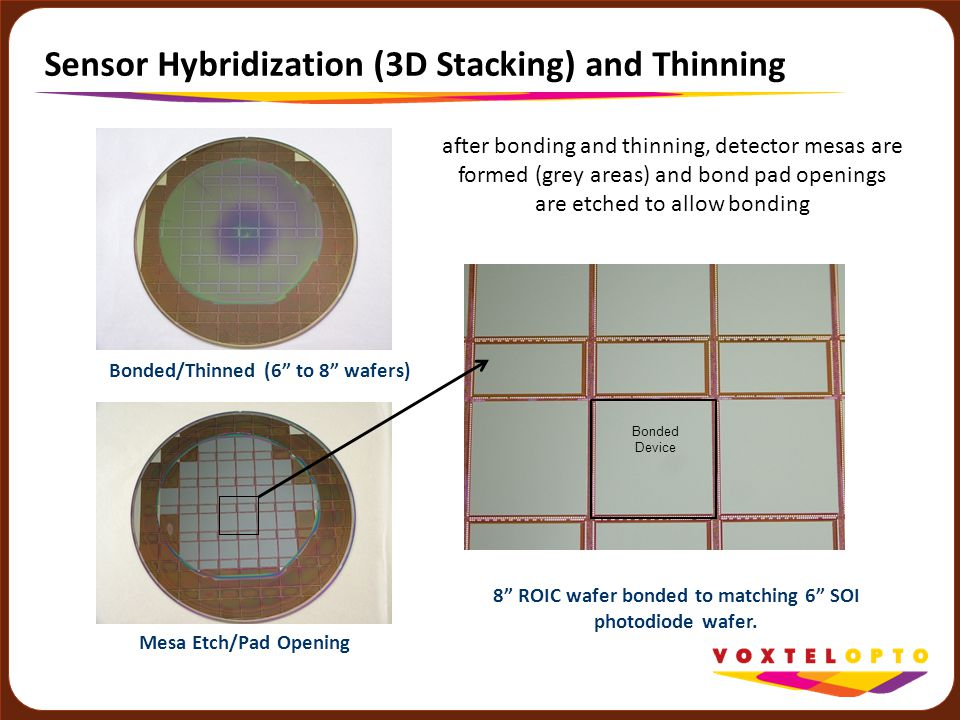 """Sensor Hybridization (3D Stacking) and Thinning 8"""" ROIC wafer bonded to matching 6"""" SOI photodiode wafer. Bonded/Thinned (6"""" to 8"""" wafers) Mesa Etch/P"""