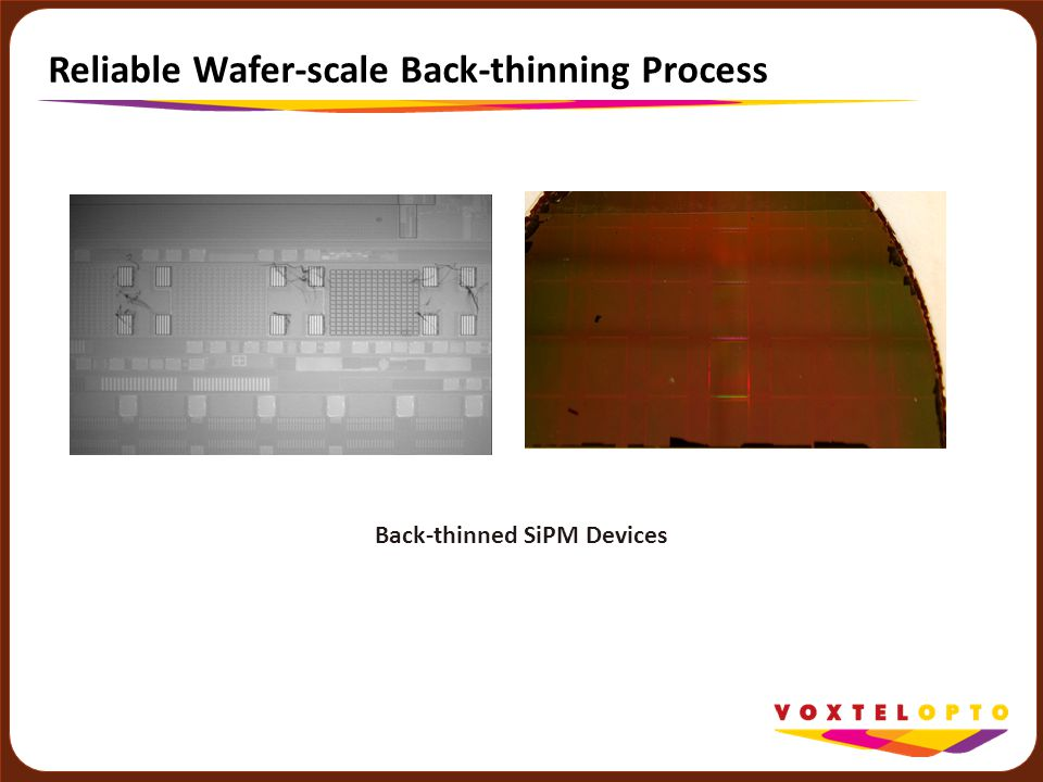 Reliable Wafer-scale Back-thinning Process Back-thinned SiPM Devices