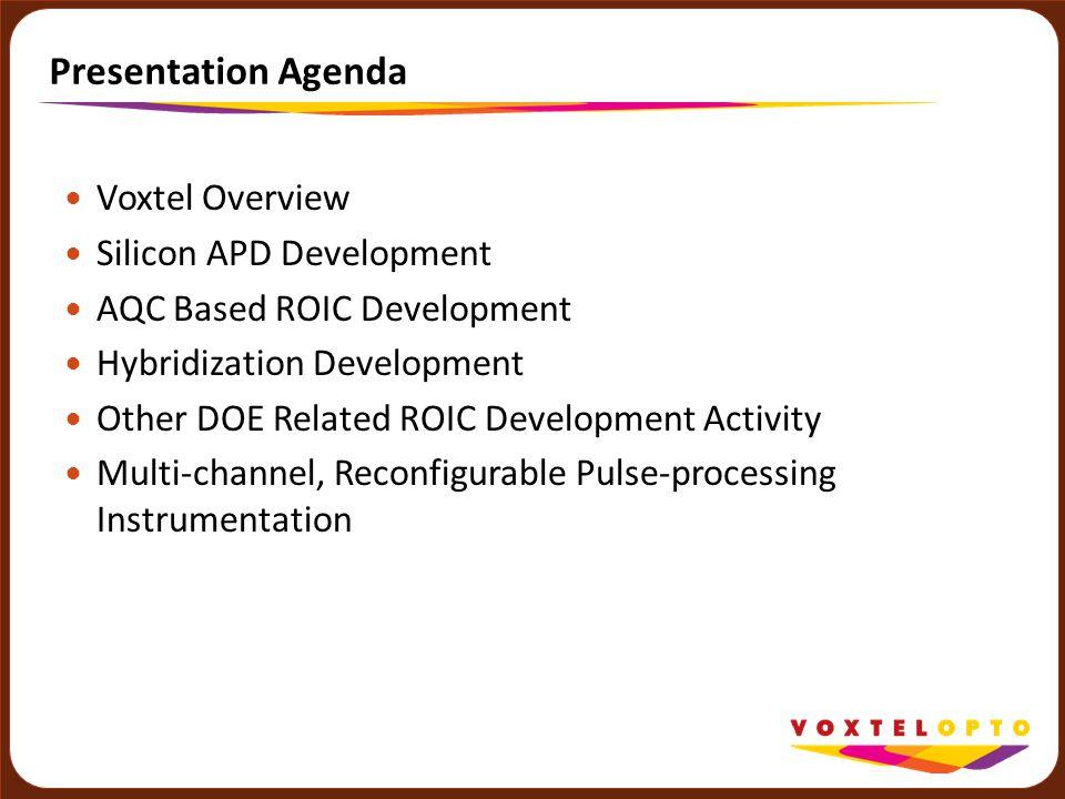 Presentation Agenda Voxtel Overview Silicon APD Development AQC Based ROIC Development Hybridization Development Other DOE Related ROIC Development Ac
