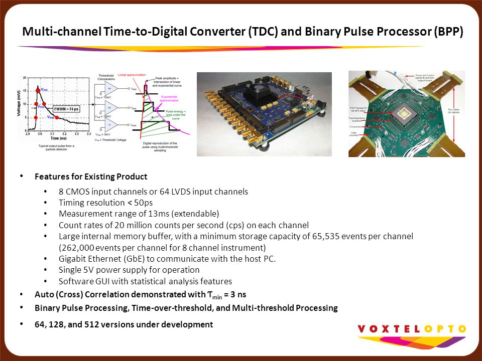 Multi-channel Time-to-Digital Converter (TDC) and Binary Pulse Processor (BPP) Features for Existing Product 8 CMOS input channels or 64 LVDS input ch