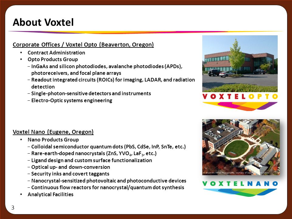 3 About Voxtel Corporate Offices / Voxtel Opto (Beaverton, Oregon) Contract Administration Opto Products Group −InGaAs and silicon photodiodes, avalan