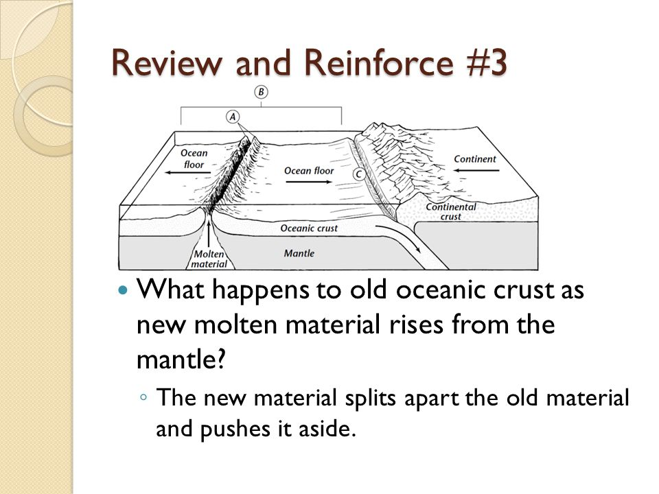 Review and Reinforce #3 What happens to old oceanic crust as new molten material rises from the mantle.